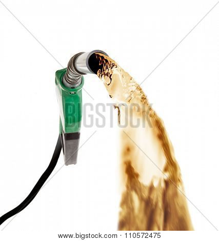 Green fuel nozzle pumping fuel isolated on white