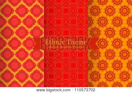 Ethnic oriental geometric seamless patterns