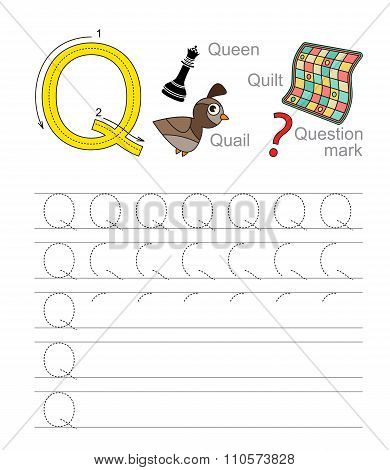 Letter Q. Learn handwriting.