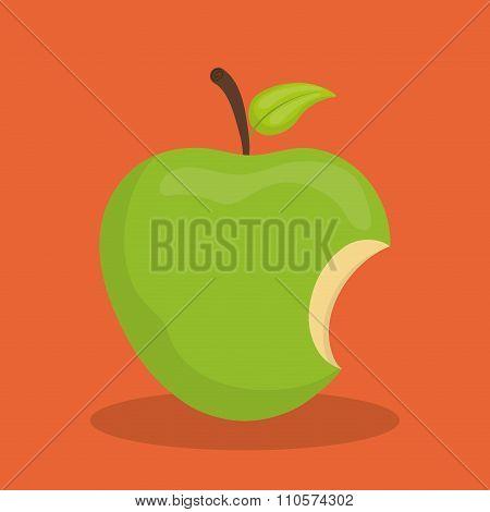 Green apple biten