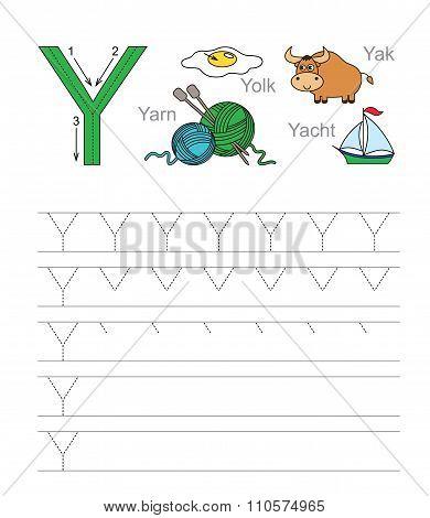 Letter Y. Learn handwriting.