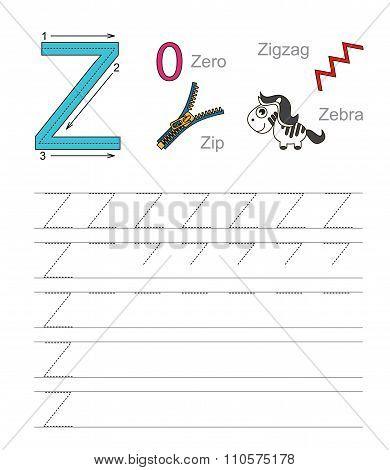 Letter Z. Learn handwriting.