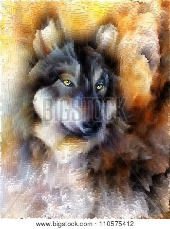 alsatian dog, painting Abstract spots background, vintage variant polygon.