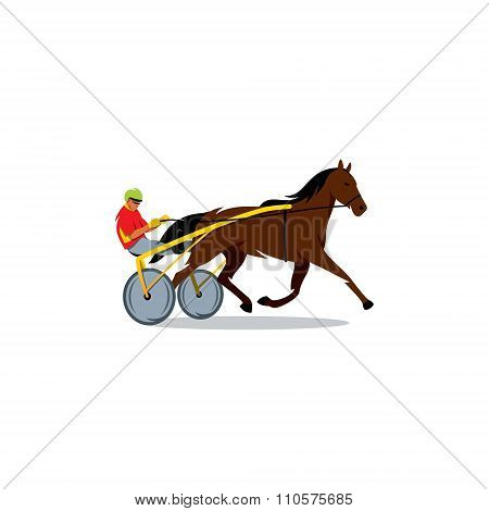 Harness racing. Vector Illustration.