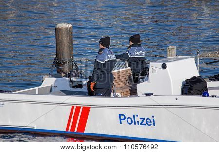 Policemen In The Boat On The Limmat River