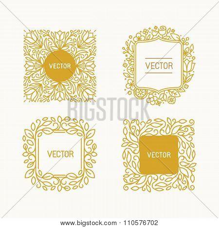 Vector Set Of Floral Monograms