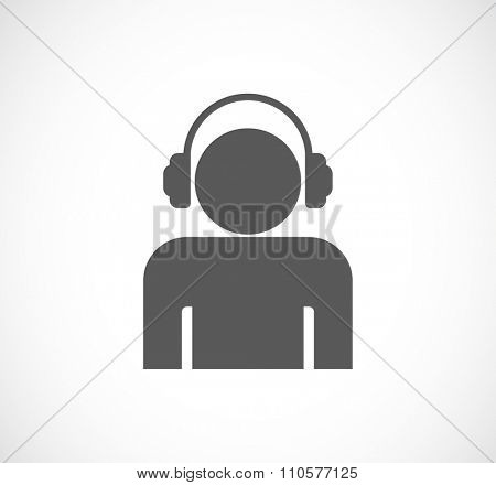 person man with headphones concept icon