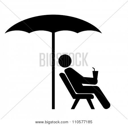 man on sunbed black icon