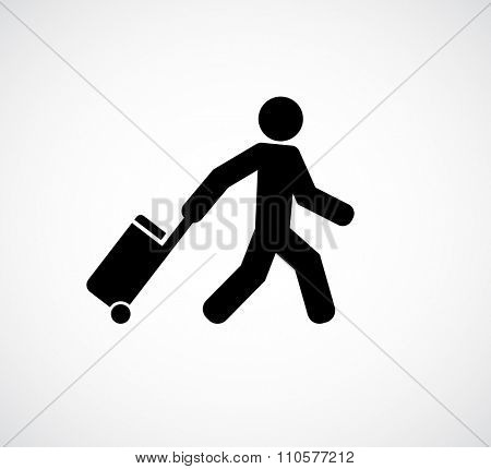 person tourist traveler with suitcase icon