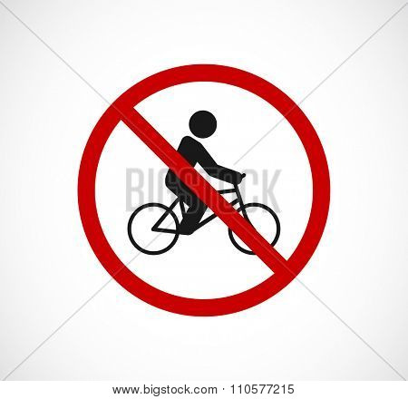bicycle person forbidden sign icon