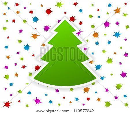 cristmas tree on starburst splash background - new year design