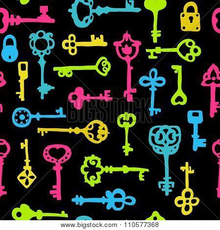 Seamless Pattern With Vintage Keys