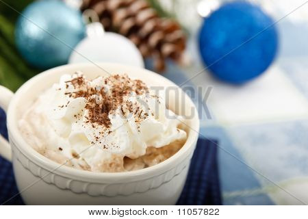 Hot Chocolate Cocoa On Blue Background