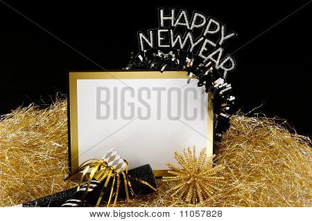Happy New Year Sign In Black And Gold