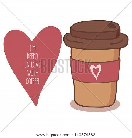 Hand drawn coffee to go cup with heart
