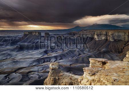 Moonscape Overlook at sunrise in Utah desert, USA