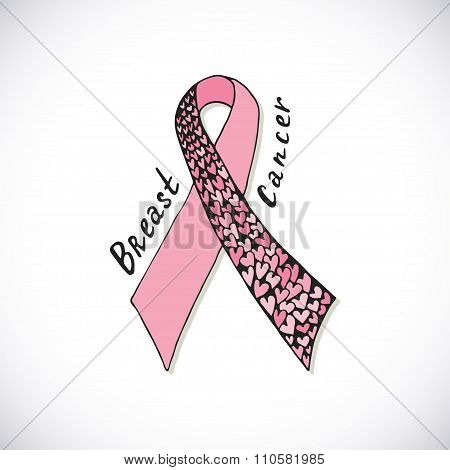 Breast Cancer with ornate pink ribbon with harts. Vector hand drawn illustration can be used for pos