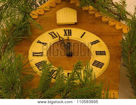 wooden old clock