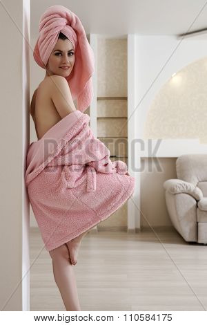 Image of seductive woman posing after bath
