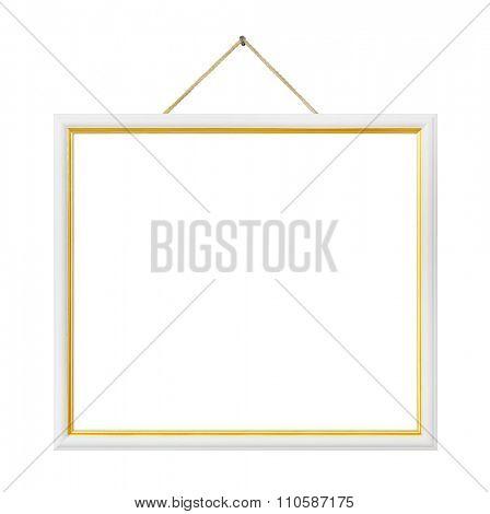 Retro frame on string isolated on white background