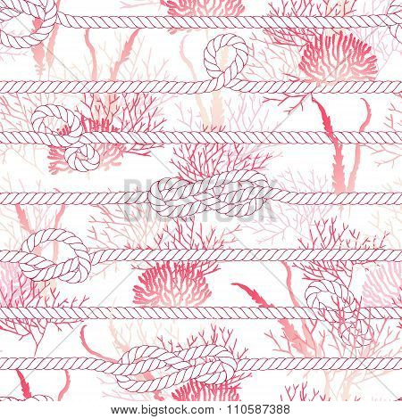 Red Coral And Marine Rope Seamless Vector Print