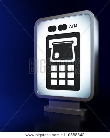 Banking concept: ATM Machine on billboard background