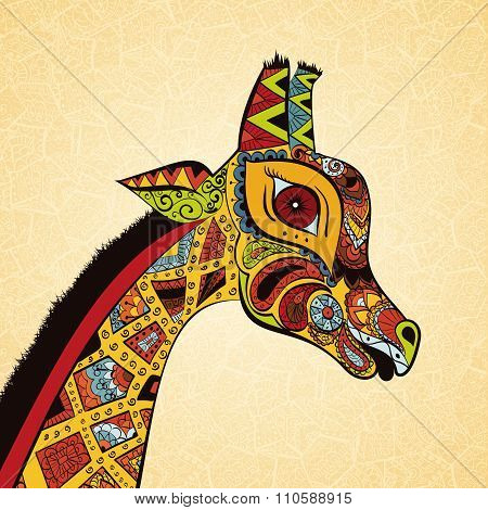 Beautiful adult Giraffe. Hand drawn Illustration of ornamental giraffe.  Colored giraffe on ornament