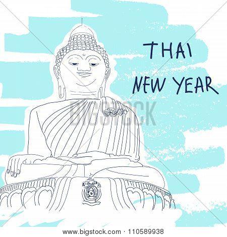 New Year Vector Illustration. World Famous Landmark Series: Thai