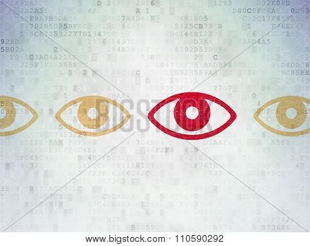 Security concept: eye icon on Digital Paper background
