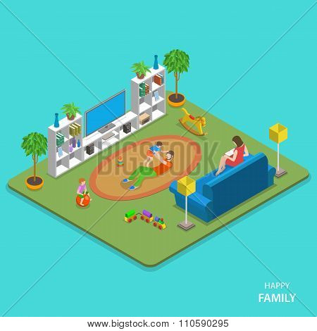 Happy family isometric flat vector concept.