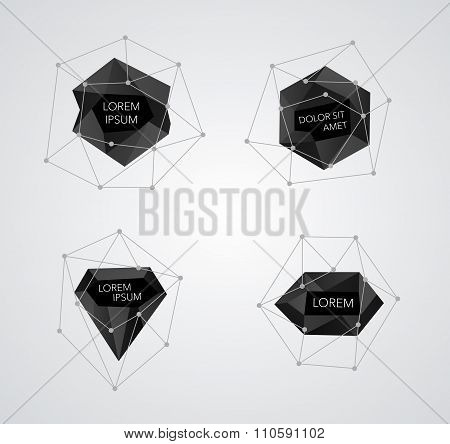 Abstract crystal templates vector