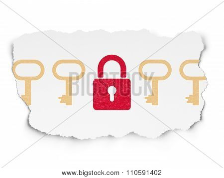 Protection concept: closed padlock icon on Torn Paper background