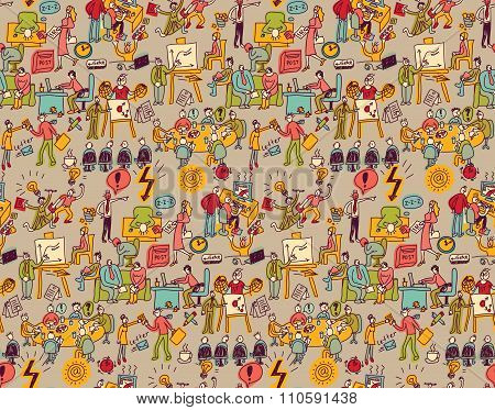 Office life seamless pattern business people