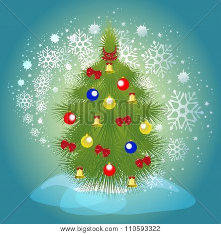 Christmas tree with balls, bells and ribbons on a background of a blizzard. EPS10 vector illustratio