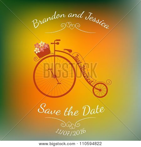 Wedding retro bicycle with basket of flowers over colorful blurred background.