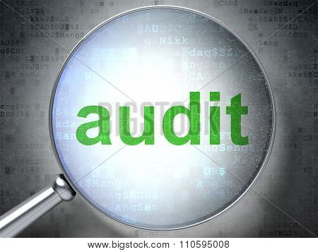 Business concept: Audit with optical glass