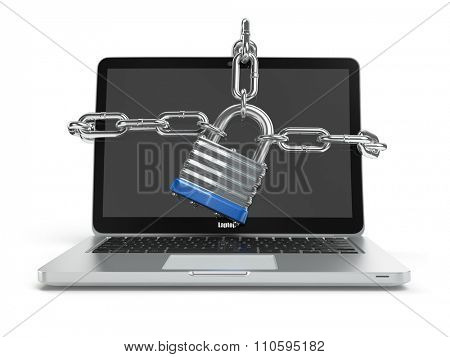 Computer security or safety concept. Laptop keyboard with lock and chain. 3d