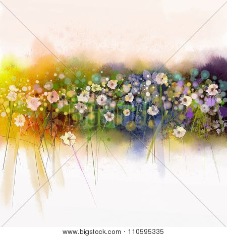 Watecolor flowers Painting. Spring Seasonal Nature Background