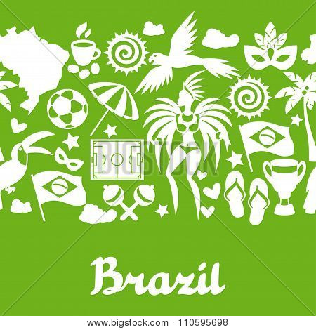 Brazil seamless pattern with stylized objects and cultural symbols