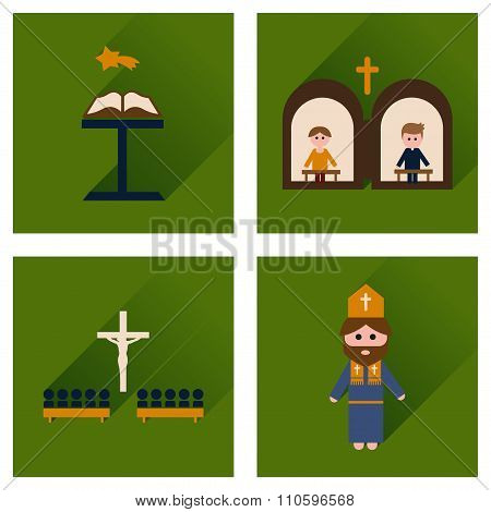 Concept of flat icons with long shadow Christianity