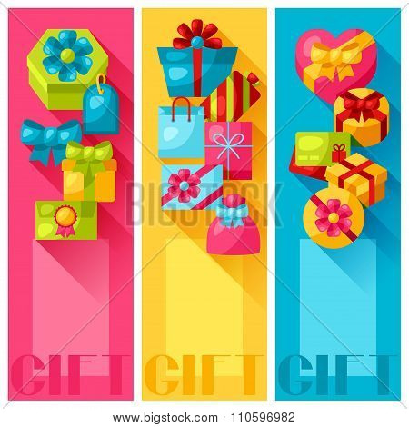 Celebration banners or flayers with colorful gift boxes