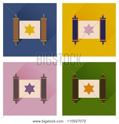 Concept of flat icons with long shadow Torah scroll