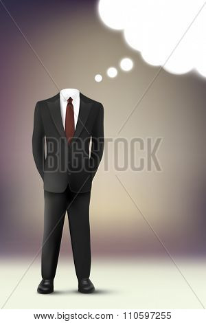 vector businessman with thought cloud