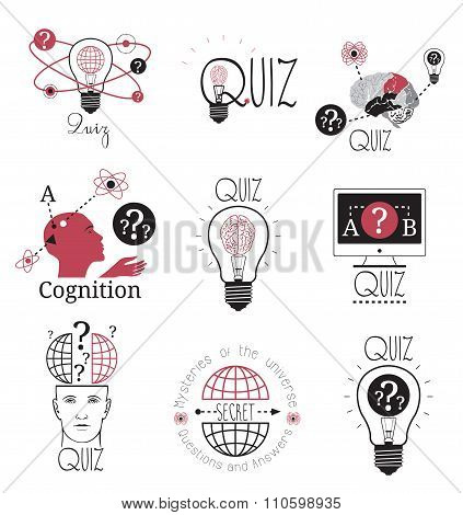 Quiz logo emblems labels design element. Mind games logo.