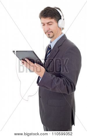 businessman with tablet pc and headphones, isolated