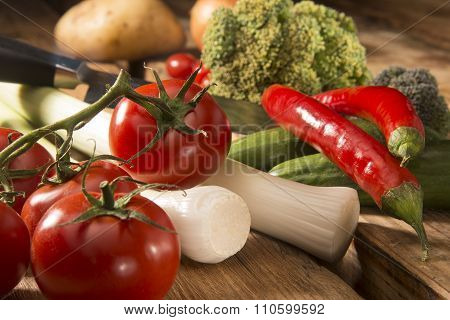 vegetables on a wooden cutting board