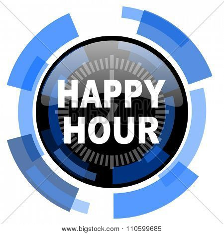 happy hour black blue glossy web icon