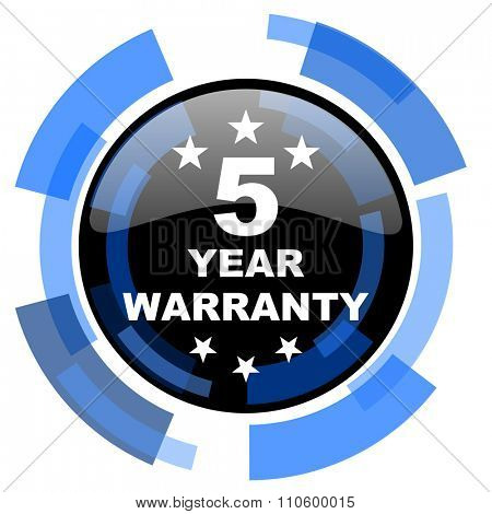 warranty guarantee 5 year black blue glossy web icon