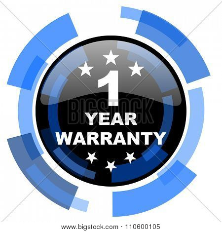 warranty guarantee 1 year black blue glossy web icon