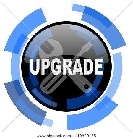 upgrade black blue glossy web icon
